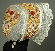 Hand-Embroidered Antique Wedding Bonnet Slovak folk costume ethnic lace cap KROJ