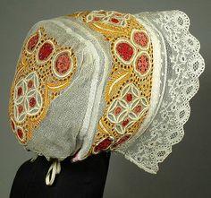 Hand-Embroidered Antique Wedding Bonnet Slovak folk costume ethnic lace cap KROJ