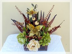 fall silk floral arangements | Fall Treasure Chest Silk Flower Arrangement | Le Jardin Florist