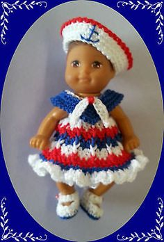 Crochet-Clothes-Sailor-Wh-Ruffle-Outfit-for-2-BabySis-Krissy-same-sized-doll