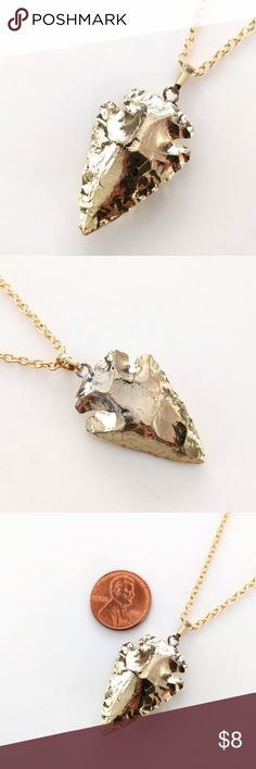 """Gold-plated carved jasper arrowhead necklace CLOSET CLOSING CLEARANCE!  All prices are firm; no additional offers accepted.  I'm earning no profits, just liquidating everything before moving abroad.  I'm listing as many items as I can as quickly as I can, but things are selling fast, so grab your faves while you can!    Nickel and lead free.  Chain measures about 21"""". Jewelry Necklaces"""
