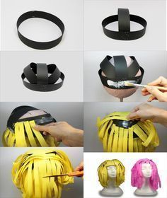 Discover thousands of images about Pelucas de papel para disfraces Diy Costumes, Cosplay Costumes, Halloween Costumes, Crazy Hat Day, Crazy Hats, Diy For Kids, Crafts For Kids, Easy Crafts, Children Costumes