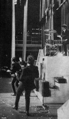 """A Beatles Christmas Show at the Finsbury Park Astoria, December Photo by Terence Spencer. Scan from """"The British Invasion: The Music, the Times, the Era"""" by Barry Miles Love Me Do, Still In Love, The Quarrymen, Richard Starkey, Pop Rock Music, Finsbury Park, Christmas Shows, British Invasion, The Fab Four"""
