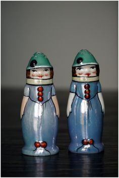 Vintage Lusterware Young Ladies Salt and Pepper shakers by Noritake 1920s