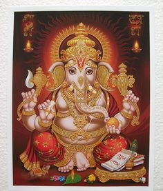 """SHRI GANEHSA Ganesh - High Quality Golden Effect Glossy PAPER POSTER - 9""""x11"""" in Collectibles, Religion & Spirituality, Hinduism 