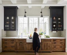 wood and black cabinets