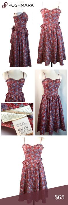 Gunne Sax Red Floral Peplum Hippie Festival Dress vintage Jessica McClintock Gunne Sax Festival Dress Sweetheart bustling with princess seams and peplum waist, waist back ties.  red white and blue floral.  Cotton blend, Approximate 4/5 pictured on size 6 mannequin and will only zip to waist.  Excellent preowned condition Jessica McClintock Dresses