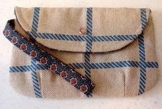 PLAID BLUE CLUTCH Purse Handmade with by TennesseeQuiltworks