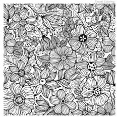 Vector Seamless Vintage Pattern With Flower. Doodle Coloring, Colouring Pics, Flower Coloring Pages, Mandala Coloring, Coloring Book Pages, Flower Bird, Flower Stamp, Logo Arbol, Pyrography Patterns