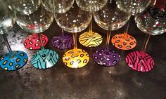 Animal print hand painted wine glasses bottom only by BrookeLHC, $8.00