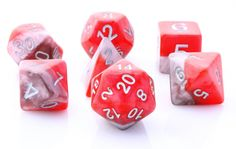 Get ready to roll with Halfsies Dice (Orichalcum). This RPG dice set has all your favorites: d4, d6, d8, d10, d%, d12, and d20. Halfsies are an exciting new line of role playing dice ready for your gr