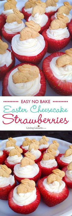 Easy No Bake Easter Bunny Cheesecake Stuffed Strawberries. A fun food dessert idea! LivingLocurto.com