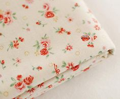 Garden Floral on Ivory Cotton U2982 by SonSu on Etsy, $10.60