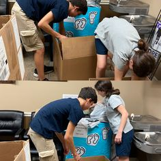 Levin's kids packing up more shoe donations to take to Joshua House Wesley Chapel, Heel Pain, Packing, Shoe, Ankle, Kids, Bag Packaging, Zapatos, Children