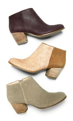 Must-own ankle booties crafted from luxurious leather & suede. Looks great with bare legs in warmer temps!