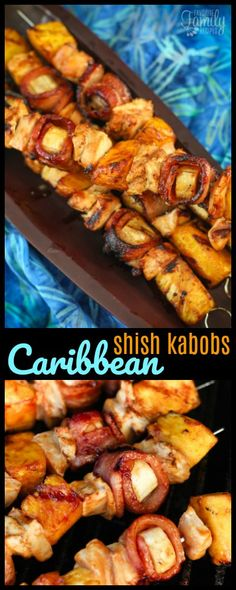 Grilled Caribbean Shish Kabobs are one of our favorites on the grill! Pineapple, marinated chicken, and bacon wrapped bananas, it's a vacation on a stick! via (Bbq Recipes Kabobs) Kabob Recipes, Grilling Recipes, Cooking Recipes, Recipies, Chicken Kabobs, Marinated Chicken, Chicken Bacon, Beef Recipes For Dinner, Chicken Recipes