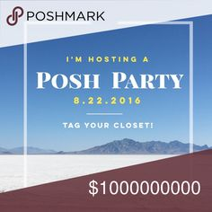 🎉 8.22 I'm Hosting a Posh Party! The theme hasn't been announced yet, but I'm excited to host my first Posh Party from 7-9 PST on 8.22.16. Looking for newer closets and closets that haven't received or only have a few a Host Picks. Please tag yourself and your friends' closets below and share this listing! If you'd like advice for selling faster + earning more $$ on Poshmark, check out my ebook linked in my closet profile. Other