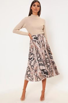 c9ee85e1f600 I Saw It First · Snake Print · Brown snake print pleated midi skirt with  elasticated waistband. Pleated Midi Skirt, Ireland Fashion