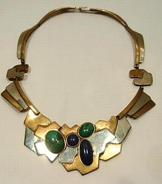 Carlos Navarro Vtg1960  'Modernist' brass & silver necklace. interpret in metalic polymer clay, and gemstones, or glass globs from Micharels.