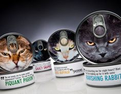 Cat Food - Great Design!  I like the flavor names, and how all the cats look really angry.