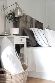 DIY pallet headboard country white bedroom