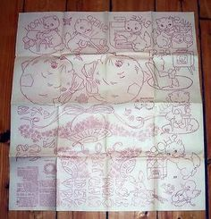 Uncut-Vtg-DAYS-OF-WEEK-Iron-On-Transfers-Towel-Embroidery-Pattern-KITTENS-Chores
