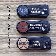 Personalize a wood or metal golf ball marker & switchblade with a name or initials. This is one of the best divot tools on the market. The tool has a weight of 1.7 ounces and uses a carkey technology (when the button is depressed, the divot tool prongs snap out, like a switchblade). This unique divot tool is handmade in California and is the perfect gift for Groomsmen, Best Man, Groom, Father of the Bride, Father of the Groom, Usher or other Wedding Party Members.  Check out this info vid...