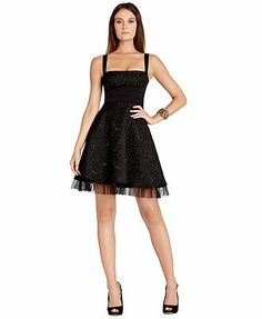 BCBGMAXAZRIA Dress, Sleeveless Square-Neck Lace A-Line