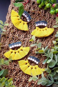 Aretez Izamal Tassel Drop Earrings | Yellow Tassel Yellow Tassel Earrings, Cute Earrings, Dangle Earrings, Earrings Handmade, Handmade Jewelry, Lip Wallpaper, Christmas Earrings, Antique Earrings, Tassels