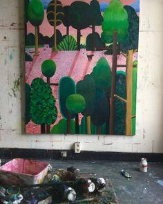 Preparing upcoming solo show  @timvanlaere_tvl #painting #studio #bensledsens by bensledsens