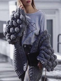 Gray Bobble Stitch Sleeve Open Back Cardigan Chunky Knit Cardigan, Loose Sweater, Crochet Cardigan, Knit Fashion, Fashion 2017, Fashion Outfits, Bobble Stitch, Crochet Clothes, Cardigans For Women