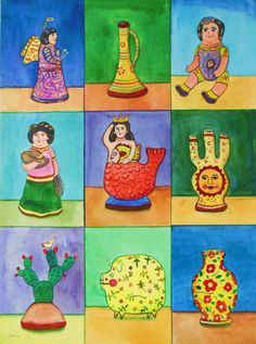 Mexican Painting Esau Andrade Loteria Lotto watercolor vintage folk art
