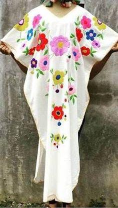 7fd35d0d209 Multi floral hand Embroidered Bohemian Linen Folk Embroidery Maxi Kaftan  Dress Boho hippie. Sizes - XS-XXL 0027