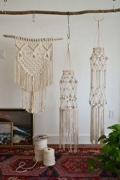 THE FOREST FERN Modern Fiber Art - Macrame Workshop Samples, Wall Hanging and Lanterns
