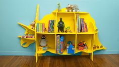 How to make a Dinosaur bookcase - Better Homes and Gardens - Bookshelves, Bookcase, Bookshelf Diy, Dinosaur Nursery, Dinosaur Kids Room, Boys Dinosaur Bedroom, Dinosaur Dinosaur, Patterned Sheets, Boy Room