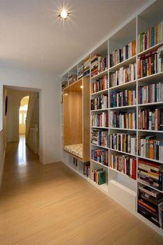 Reading nook built into shelves. Library Shelves, Wall Bookshelves, Bookcases, Bookshelf Styling, Library Wall, Home Library Design, House Design, Design Design, Design Ideas
