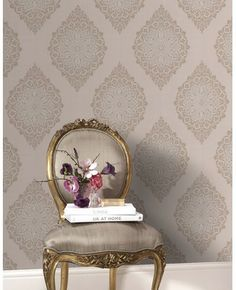Beautiful taupe ~ love the wall stencil/paper?