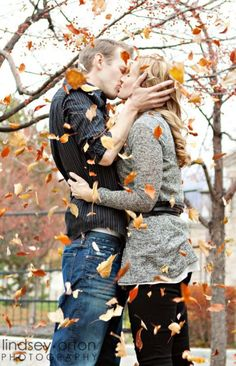 Take a picture like this of you and husband in all four seasons.  Do a grouping on the wall for your first year of marriage.