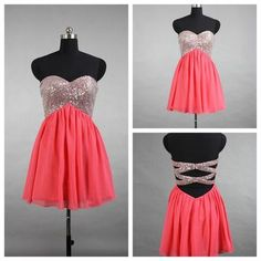 Sweetheart sequins beaded short watermelon chiffon real made dresses,cocktail dresses on sale