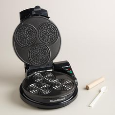 Bake perfect Italian pizzelles with our express cookie maker, designed to make three party-size cookies with a uniform thickness in less than a minute. >> #WorldMarket Mother's Day