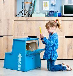 Ikea trapje wordt opbergkruk, via 101woonideeen