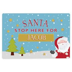 Personalised Metal Sign - Santa Stop Here Personalized Metal Signs, Personalized Items, Character Words, Hanging Signs, Gift Store, Christmas Gifts, Christmas Ideas, Gifts For Friends, Santa