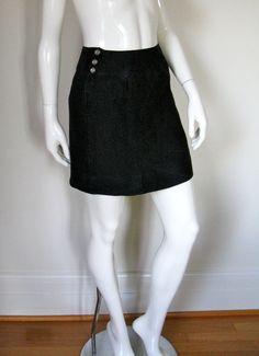 Vintage 1980s Chanel Boutique Black Linen Mini Skirt Waist 26