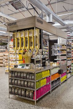 Gourmet Supermarket Design - This gourmet supermarket design definitely blurs the line between a farm fresh marketplace and grocery retail. Food Retail, Retail Shop, Pharmacy Design, Retail Design, Commercial Design, Commercial Interiors, Coffee Display, Retail Merchandising, Lokal