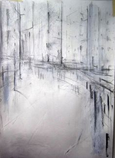 """Saatchi Online Artist: Calum Paterson; Charcoal, Drawing """"City square"""""""