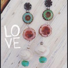 Boho Flower Power Earrings Pretty glass bead earrings. White swirl vintage bead. Silver wire. ChicEVintage Jewelry Earrings