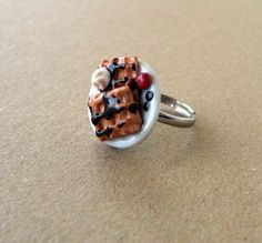Polymer clay adjustable ring  waffles chocolate by PieceOfCakeHJ, €15.00