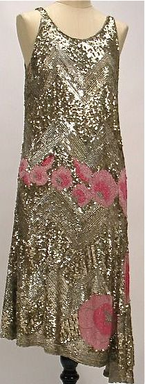 1928 French Flapper Dress 20s 30s gold sequin dress with pink flowers color photo print