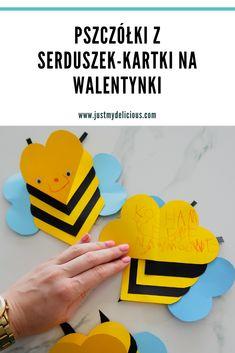 Pszczółki z serduszek - kartki na Walentynki dla dzieci. Diy Valentines Cards, Kids Valentines, Plasticine, Kids Cards, Quality Time, Bee, Crafts, Lifestyle, Recipes