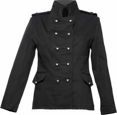 Black cotton gothic military jacket, double-breasted uniform style with metal buttons.